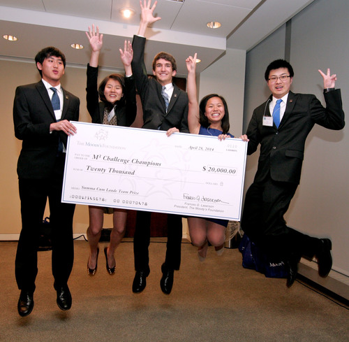 Students from North Carolina School of Science and Mathematics celebrate after being named the 2014 Moody's Mega Math Challenge Champions. From Left to Right: Steven Liao, Jennifer Wu, Zack Polizzi, Anne Lee, Irwin Li. (PRNewsFoto/SIAM)