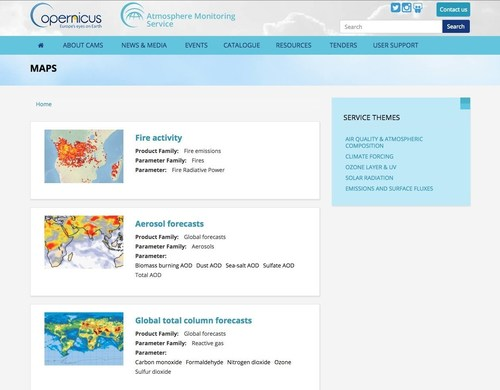 Live maps embedded in the CAMS website, readily accessible for users. (ECMWF Copernicus). ...