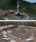 Honghua's new drilling and fracturing site, above, as compared to a conventional fracturing site, below.  (PRNewsFoto/Honghua Group Limited)
