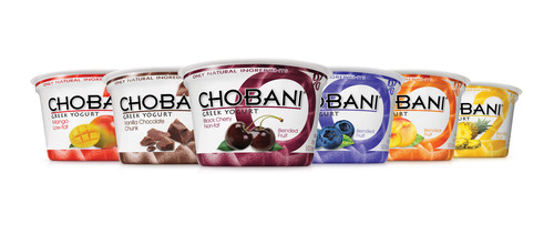 16oz Chobani Greek Yogurt Blends feature lightly sweetened, real fruit blended throughout each bite of Chobani authentic strained Greek Yogurt.  (PRNewsFoto/Chobani)