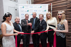 Pictured behind ribbon from left:  Marty Markowitz, NYC & Co.; G.R. Pitman, Chesapeake Lodging Trust; Ben Seidel, Real Hospitality Group; George Vizer, Hyatt Hotels Corporation; Aviva Drescher, Television Personality