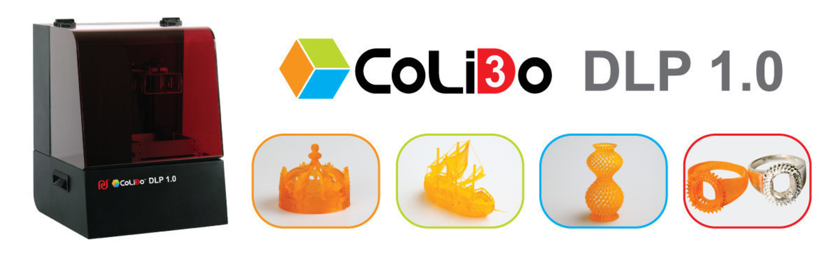 CoLiDo DLP 1.0 3D Printers can build 3D models with up to 0.05 mm layer thickness.