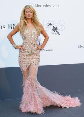Paris Hilton wearing AVAKIAN at the amfAR Gala 2013.