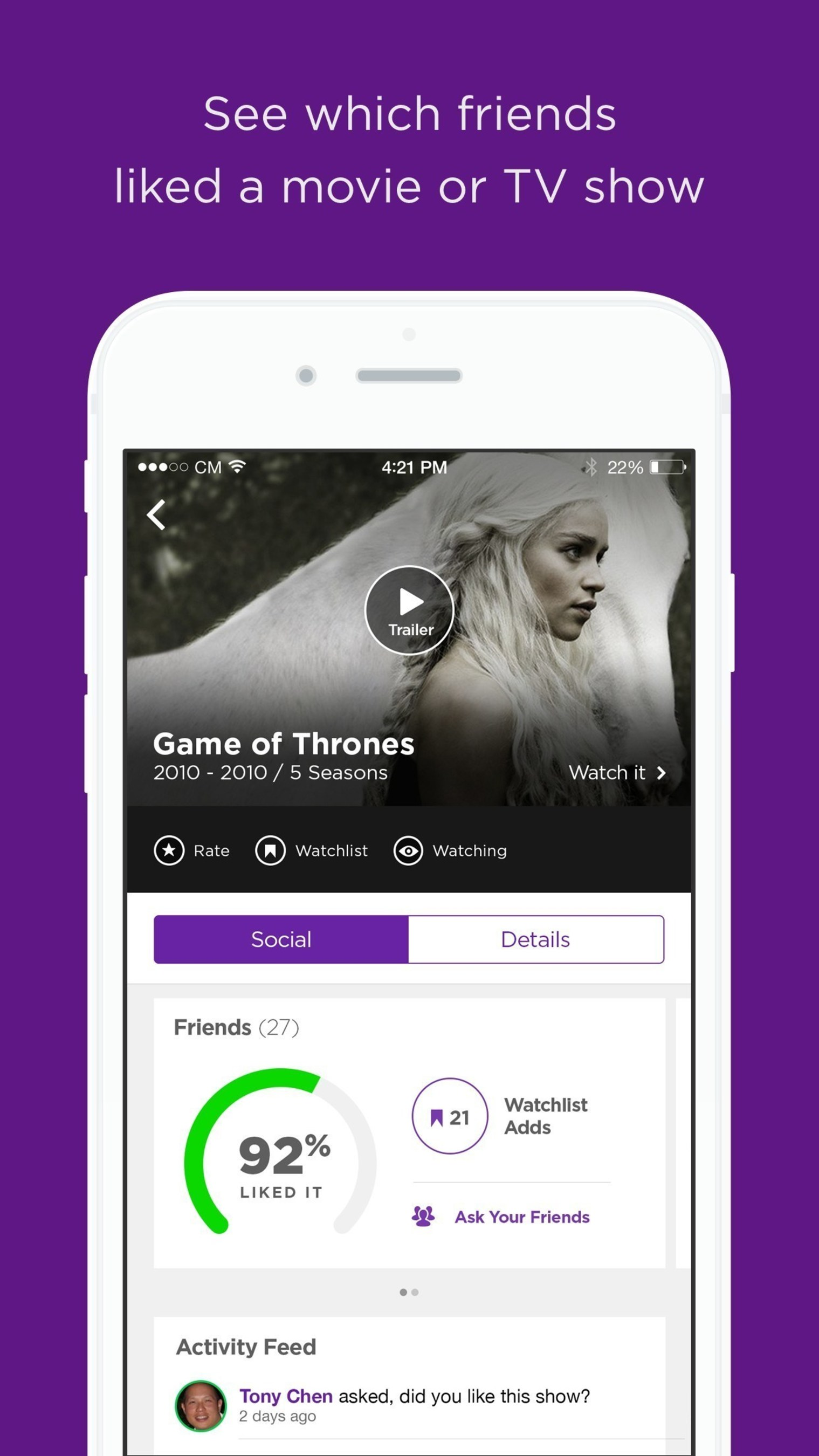 With Legit, users can rate, review and discuss movies with their friends, all in one app.