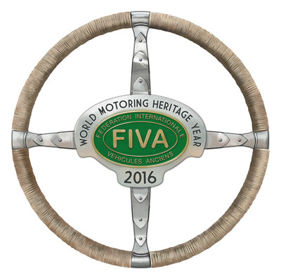 FIVA's World Motoring Heritage Year logo for cars, soon to be available as stickers to the general public.