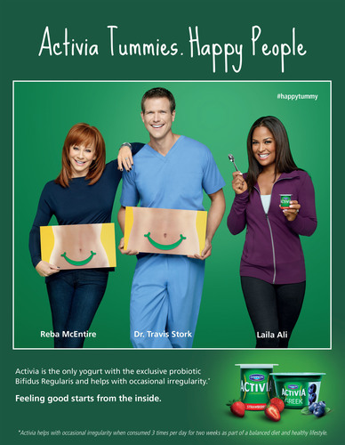 "Activia is partnering with leading multi-media entertainment artist, Reba McEntire, the respected health expert, Dr. Travis Stork, and world-class athlete, Laila Ali, on the new ""Activia Tummies. Happy People"" campaign. (PRNewsFoto/The Dannon Company, Inc.) (PRNewsFoto/THE DANNON COMPANY, INC.)"