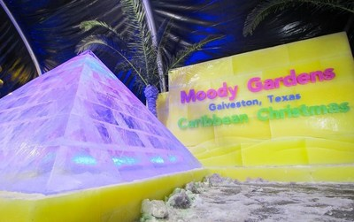 """A team of ice carvers from Harbin, China is carving 2 million lbs. of ice as Moody Gardens prepares to open """"ICE LAND: Ice Sculptures"""" with a Caribbean Christmas theme for the holiday season November 12 - January 8."""