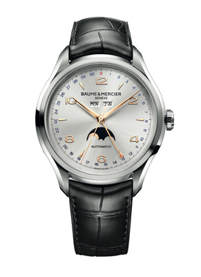 The Clifton 10055 by Baume and Mercier. An urban timepiece from the 1950's, revisited. Complete calendar display and moon phases; black alligator strap; powered by a Swiss-made automatic mechanical movement.  (PRNewsFoto/Baume & Mercier)