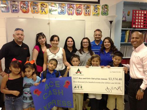 ACE's San Antonio associates present the Boys & Girls Club of San Antonio with $3,574.40 donation. (PRNewsFoto/ACE Cash Express) (PRNewsFoto/ACE CASH EXPRESS)