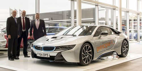 L to R: BMW UK - Network Facilities Project Manager Bob Charman; Paul Shilling, Principle Global Board Director; and Head of Business at BMW Soper of Lincoln, Andrew Tullie. (PRNewsFoto/Principle)