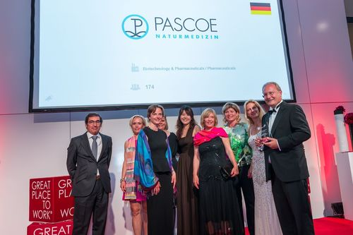 "The international team of ""Great Place to Work"" congratulates PASCOE for ""Best Workplaces Europe 2015"" / (From left to right): Jürgen F. Pascoe CEO, Annette D. Pascoe Managing Director, Doris Palz, GPTW Austria, Stefanie Wagner Suske, Public Relation Manager Pascoe, Chen Yi-An, International Sales Manager Pascoe, Ditte Vigsø, GPTW Denmark, Nicola Hauch, PA to Mr. Jürgen Pascoe, Maria Gruden, GPTW Sweden, NicolÃis MÃ(C)ndez Ramilo, GPTW Spain (PRNewsFoto/Pascoe Natural Medicine)"