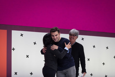 Airbnb Cuban hosts Julio and Silvio join Airbnb's CEO Brian Chesky at the 2015 Airbnb Open in Paris