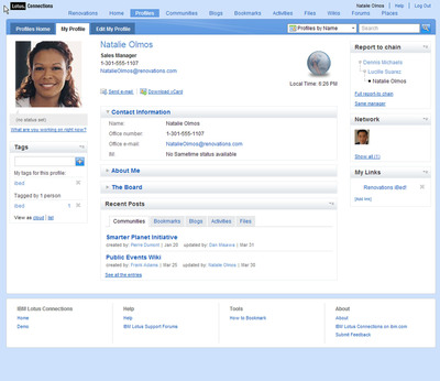 The IBM Lotus Connections profiles feature helps workers find the people they need based on their expertise, projects, and responsibilities.  (PRNewsFoto/IBM)