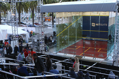 The NetSuite Open Squash Championships Glass Court at Justin Herman Plaza in San Francisco, CA.