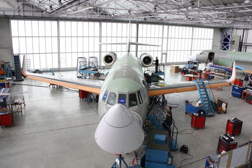 The first green production aircraft is fully assembled at Dassault's Bordeaux-Merignac production plant. It will be ferried to the company's Little Rock, Ark. completion center in June for outfitting and painting.