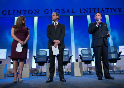 American Standard President and CEO Jay Gould (far right) announced his company's Commitment to Action during the recent Clinton Global Initiatives (CGI) conference. American Standard pledged to improve sanitation and quality of life for three million people around the world from 2014 to 2017. Earlier this year, the company launched the Flush for Good campaign aimed at increasing awareness of the global sanitation crisis and creating innovative solutions to help stop the spread of disease caused by inadequate sanitation facilities in developing countries.  (PRNewsFoto/American Standard Brands)