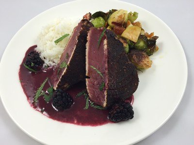 "Legal Sea Foods is serving up two d-electable presidential dishes leading up to Election Day.  Guests at all restaurants can choose between the ""Secretary of Steak"" (pictured here) or the ""Trump Tower.""  The Clinton-inspired dish is a liberal helping of blackened tuna steak with jasmine rice, bacon-braised Brussels sprouts and blackberry beurre rouge."