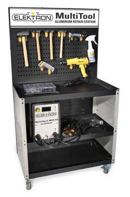 The new Elektron MultiTool Aluminum Repair Station is a complete mobile workstation equipped with the tools technicians need to properly repair dents in aluminum sheet metal body panels and hoods. Because ferrous metal can contaminate aluminum and cause corrosion (leading to adhesion issues and paint failure), best practices for aluminum repair call for dedicated aluminum repair areas and equipment. The MultiTool Aluminum Dent Repair Station includes a work area as well as space for storing the tools used exclusively on aluminum components.  (PRNewsFoto/Elektron)