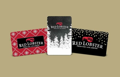 Red Lobster's holiday gift cards come in three limited-time holiday designs and can be purchased in a variety of denominations - from $50-$250.