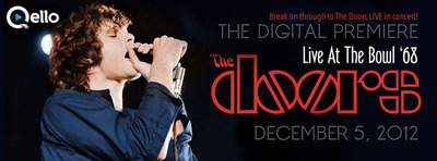 Qello hosts The Doors LIVE AT THE BOWL '68 Facebook Digital Premiere & Live Q&A with Ray Manzarek on Dec. 5th  8:30pm EST. Go to:  https://apps.facebook.com/thedoorslive.  (PRNewsFoto/Qello)