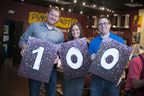 Pinot's Palette co-founders Charles Willis, Beth Willis and Craig Ceccanti celebrate their 100th studio signing.