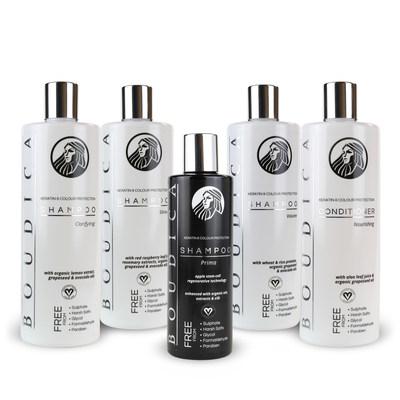 Boudica Range (l to r) Clarifying, Shine, Prima, Volume Shampoos, Nourishing Conditioner