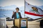 Secretary Sally Jewell flips the switch at the 550-megawatt Desert Sunlight Solar Farm in Desert Center, Riverside County, California.