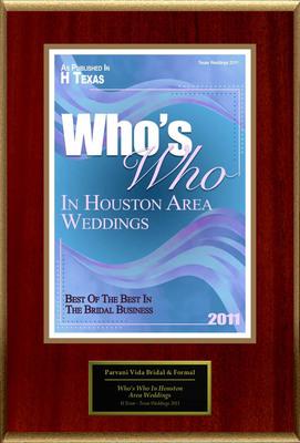 "Parvani Vida Bridal & Formal Selected For ""Who's Who In Houston Area Weddings.""  (PRNewsFoto/Parvani Vida Bridal & Formal)"