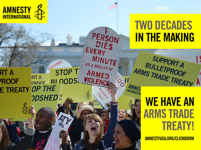 After weeks of intense negotiations at the UN Conference, including a bitter roadblock put up by Iran, Syria and North Korea, a final Arms Trade Treaty was adopted!  (PRNewsFoto/Amnesty International)