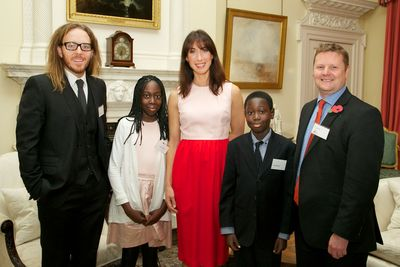 (left to right) Tim Minchin, Kharis Botchway, Samantha Cameron, Edward Botchway, and Richard Piper, CEO