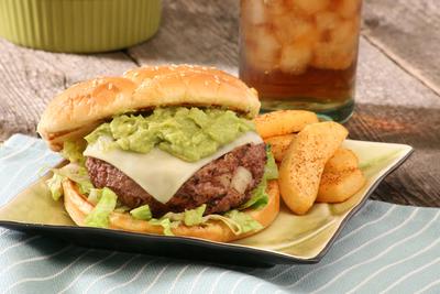 Wholly Guacamole Cilanto Lime Cheeseburger. (PRNewsFoto/Wholly Guacamole)