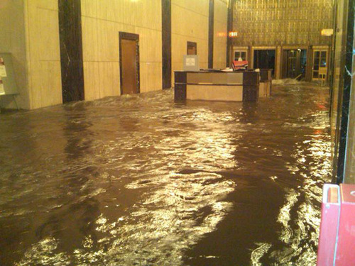 Extensive flooding caused by Hurricane Sandy swamped the ground floor of Verizon's headquarters at 140 West St. in Lower Manhattan.  (PRNewsFoto/Verizon)