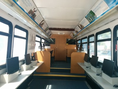 The interior of FirstMerit's Mobile Financial Learning Center is equipped with computer workspaces and other resources for teaching individuals how to take control of their financial future.
