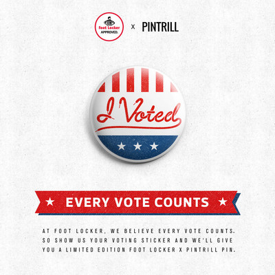 At Foot Locker, we believe every vote counts. So show us your voting sticker and we'll give you a limited-edition Foot Locker x PINTRILL pin on Election Day!