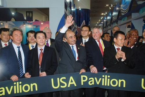 Ribbon Cutting Ceremony of AmCham South China USA Pavilion at 18th CIFIT (PRNewsFoto/AmCham South China)