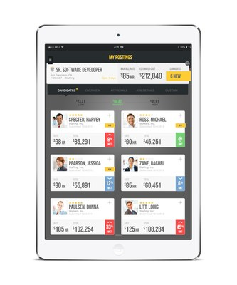 PRO Unlimited's WAND Tablet App includes comparative views for hiring. (PRNewsFoto/PRO Unlimited)