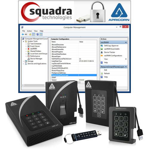Apricorn Partners with Squadra Technologies to Add Centralized Security, Data Tracking and Reporting to its Aegis Secure Drives. (PRNewsFoto/Apricorn; Squadra Technologies) (PRNewsFoto/APRICORN)