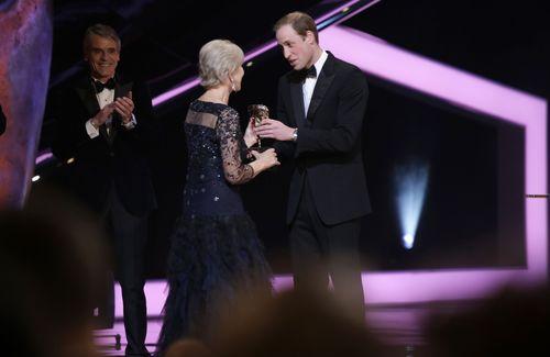 HRH Duke of Cambridge presents Dame Helen Mirren the EE BAFTA Fellowship Award wearing Asprey jewellery from the Storm Collection (PRNewsFoto/Asprey London)