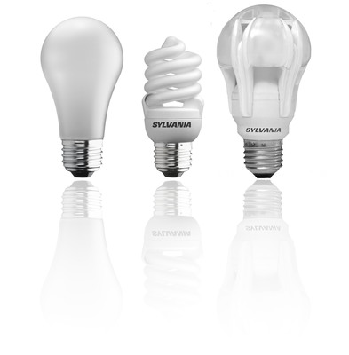 Most Americans, 53 percent, plan to switch to energy-saving halogen (left), compact fluorescent (center) or light-emitting diode (right) light bulbs.  (PRNewsFoto/OSRAM SYLVANIA)