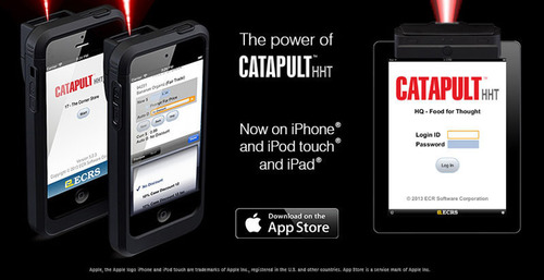 The Power of CATAPULT HHT Now on iPhone, iPod touch and iPad.  (PRNewsFoto/ECR Software Corporation)