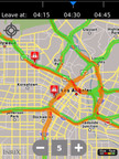 Real-Time Traffic in L.A. in INRIX Traffic App on BlackBerry.  (PRNewsFoto/INRIX)