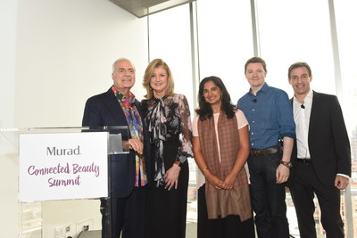 From left to right, Dr. Howard Murad, Arianna Huffington, Mallika Chopra, Jason Harcup, Global Vice President of Discovery at Unilever, and Daniel Bruzzone, Chief Marketing Officer of Murad, at the first-ever Connected Beauty Summit hosted by Murad, Wednesday, Sept. 28, 2016, in New York.