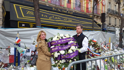 Hamilton Peterson and Patricia Lewis laid a wreath at The Bataclan in Paris
