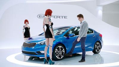 "Kia's ""Hot Bots"" Super Bowl Commercial for all-new 2014 Forte compact sedan stars former Miss. U.S.A. Alyssa Campanella. (PRNewsFoto/Kia Motors America) (PRNewsFoto/KIA MOTORS AMERICA)"