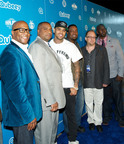 Qubeey, Inc., innovators of the browser-free communications platform transforming Internet access, previewed its 2.0 version and Chris Brown's new channel at a private, VIP event featuring the Grammy-winning recording megastar Saturday in Beverly Hills. Chris Brown, third from left, celebrated with Qubeey executives, left to right, Marc Brogdon, VP, Marketing; Kenny Bereal, Executive VP; Rocky Wright, CEO; Jeffrey Pittle, VP, Creative; and Harold McCrimmon, VP, Business Affairs. Visit www.qubeey.com.  (PRNewsFoto/Qubeey, Inc.)