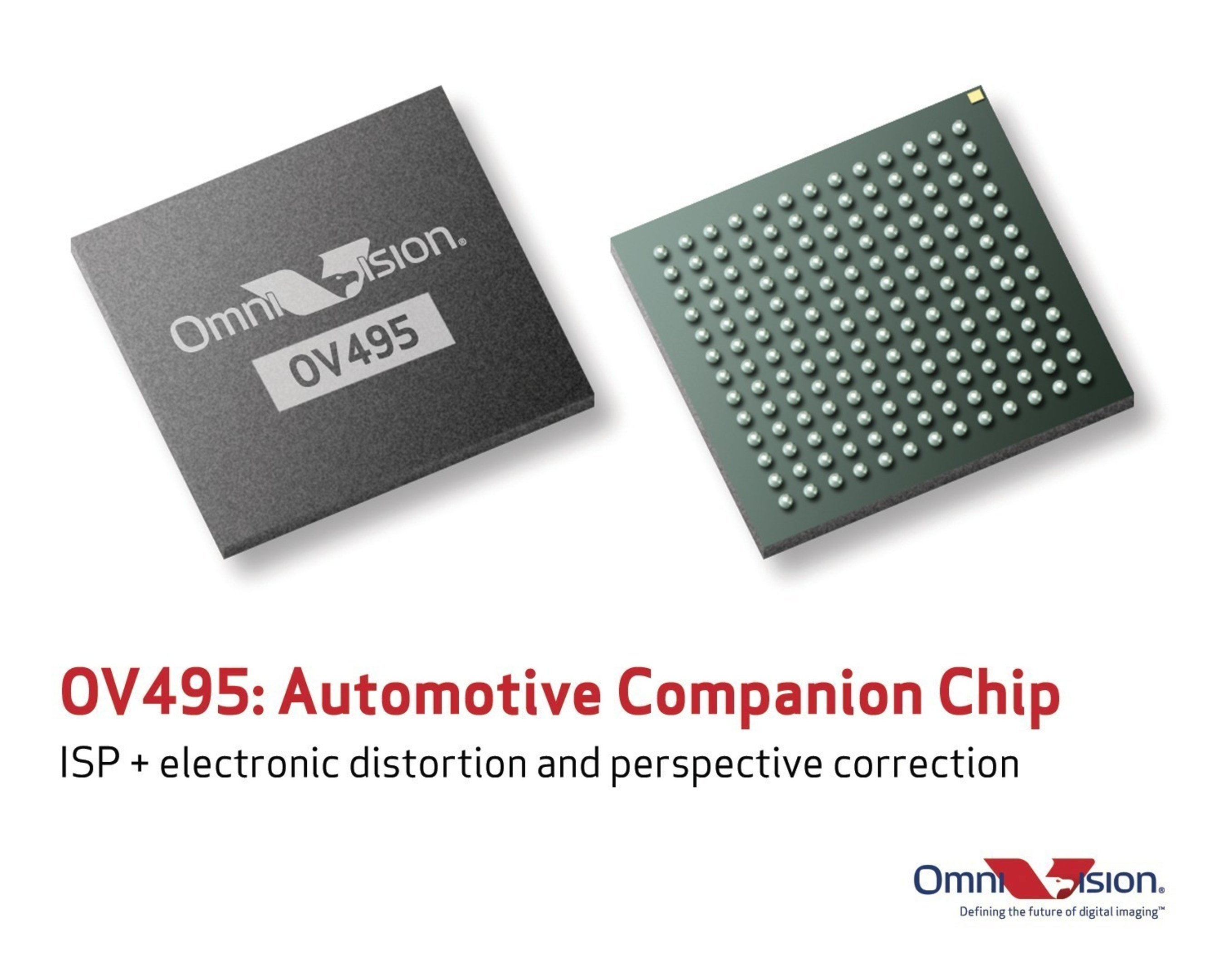 The OV495, OmniVision's ISP with electronic distortion and perspective correction.