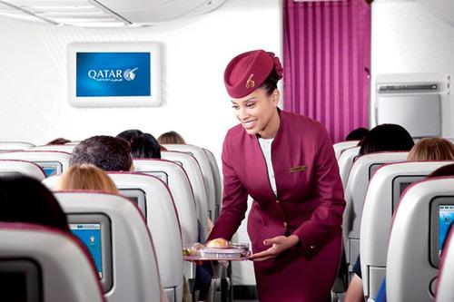 Qatar Airways award-winning Economy Class.  (PRNewsFoto/Qatar Airways)