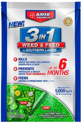 Bayer Advanced(TM), a division of Bayer CropScience LP, today announced the launch of Bayer Advanced 3-in-1 Weed & Feed for Southern Lawns.