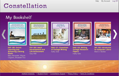 Constellation My Bookshelf by Ashford University.  (PRNewsFoto/Bridgepoint Education Inc.)