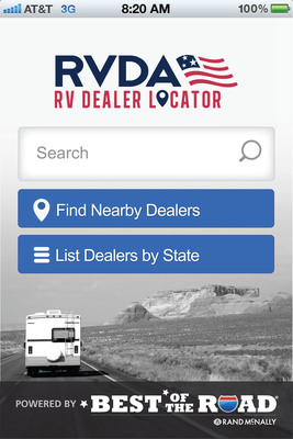New App For RV Enthusiasts! Rand McNally and National RV Dealers Association have released a free app for RVers that provides a simple way to find RV dealers and service providers across a variety of platforms.  Now available on Android and iOS platforms, Rand McNally's online maps and directions, and onboard Rand McNally's RVND GPS for RVers.  (PRNewsFoto/Rand McNally)